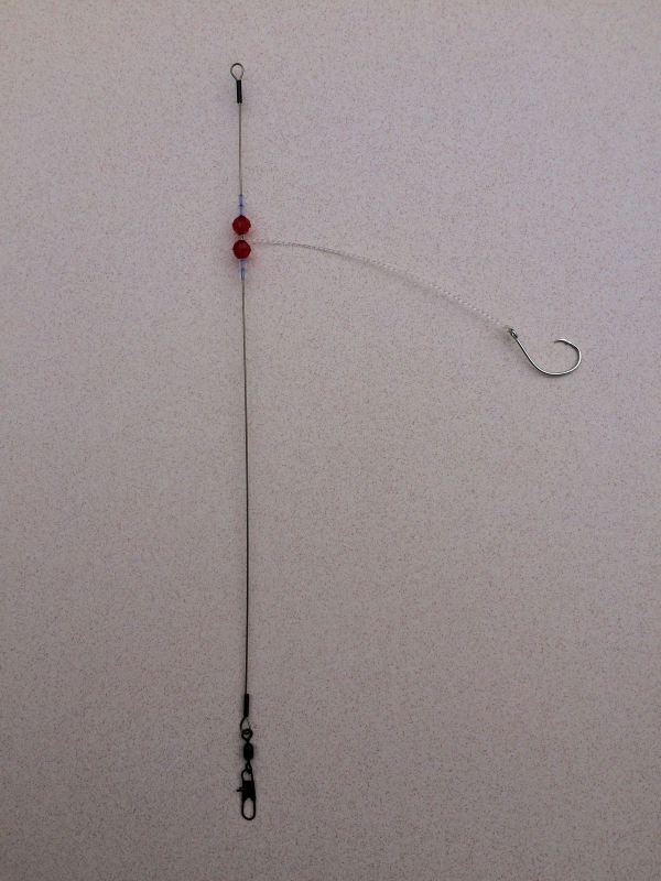 Basic fishing rig with red beads 123 fishing rigs usa for Basic fishing rigs
