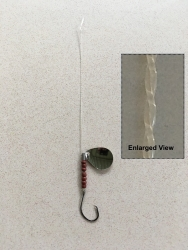 Straightened Mono Fishing Leader with hook, spinner and brown beads