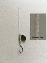 Straightened Mono Fishing Leader with hook, spinner and green beads